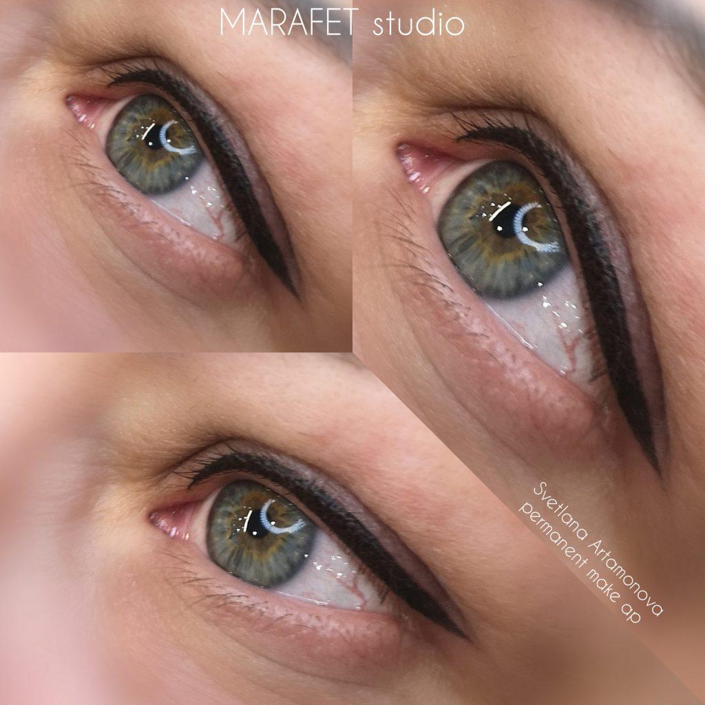 татуаж глаз стрелка классическая